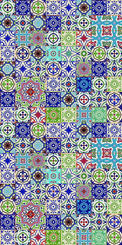 B-332090240 טפט אריחים מרוקאים צבעוני