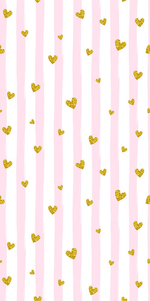 358522514 טפט פסים עם לבבות זהב