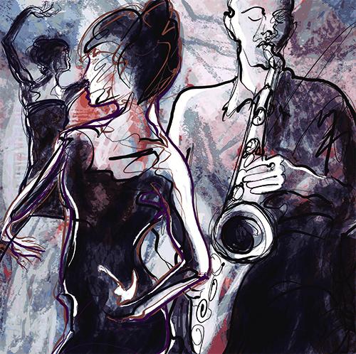 119307076 – תמונת תזמורת ג'אז עם רקדנים