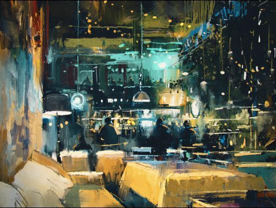309018629 תמונת ציור של בר-מסעדה בלילה