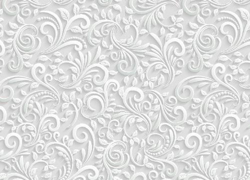 B-233350501 טפט פרחוני לבן תלת מימד