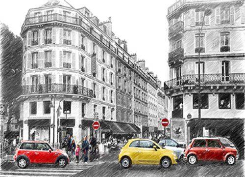 318404213 – תמונת סקצ׳ של רחוב בפריז